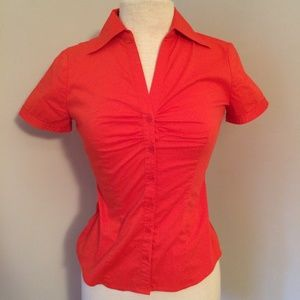 Red/Orange Short Sleeve Collared Fitted Top Blouse